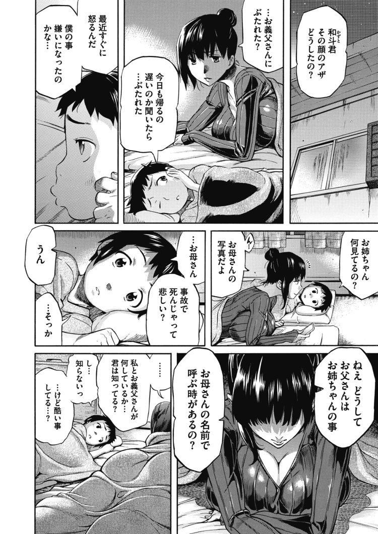 【エロ漫画】母が亡くなった後、義父に犯される巨乳美女の娘。義理の弟を慰めるために義弟とも関係を結ぶ。小学生男子の性欲はいくらたっても収まらず何度も中出しセックス!00004