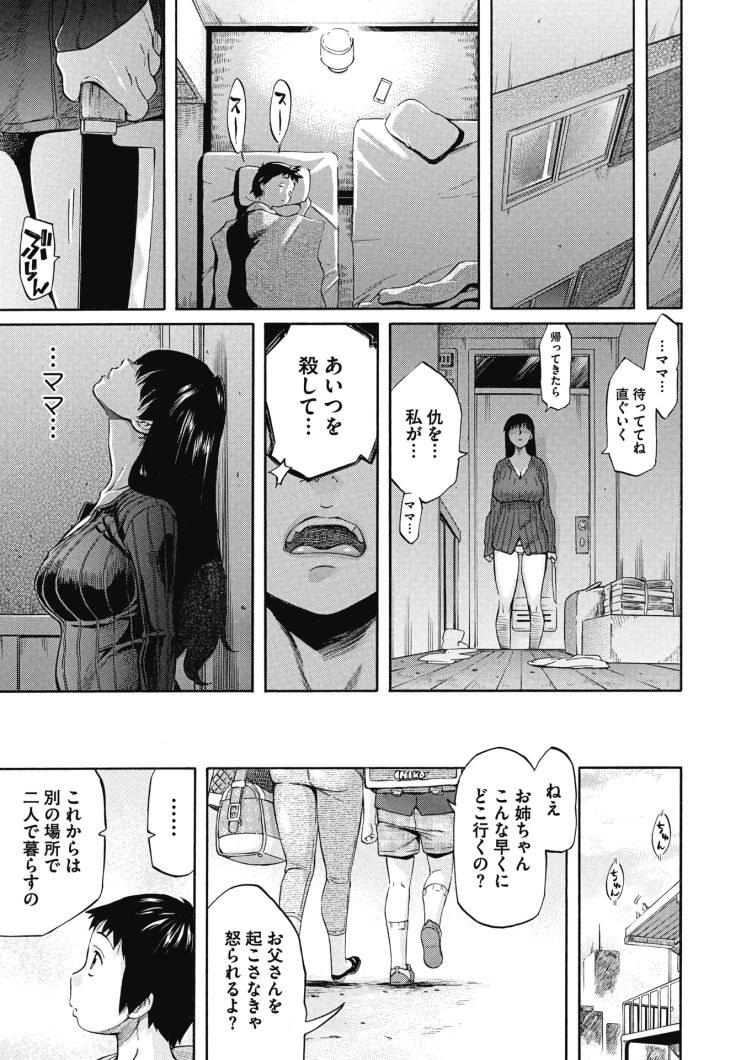【エロ漫画】母が亡くなった後、義父に犯される巨乳美女の娘。義理の弟を慰めるために義弟とも関係を結ぶ。小学生男子の性欲はいくらたっても収まらず何度も中出しセックス!00019