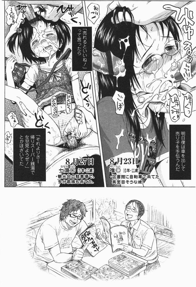 【エロ漫画】ろりともだちのオタク二人組みが美少女JSを次々誘拐して車内で残虐ロリコンレイプ!00032