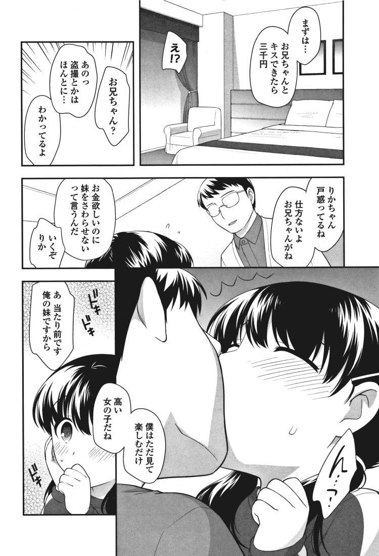【エロ漫画】黒髪ツインテールの妹とお金のために知らない男の前で近親相姦中出しセックスしてしまう!00002