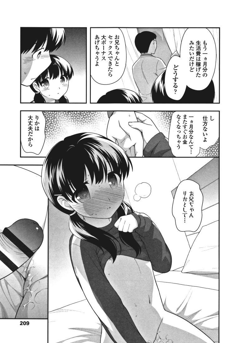 【エロ漫画】黒髪ツインテールの妹とお金のために知らない男の前で近親相姦中出しセックスしてしまう!00009
