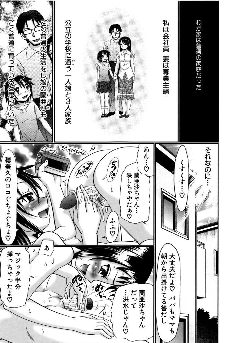 【エロ漫画】女子小学生の娘がレズセックスしているところを見てしまった父親!それでも疼きが治まらない娘に近親相姦セックスしてしまう!00001