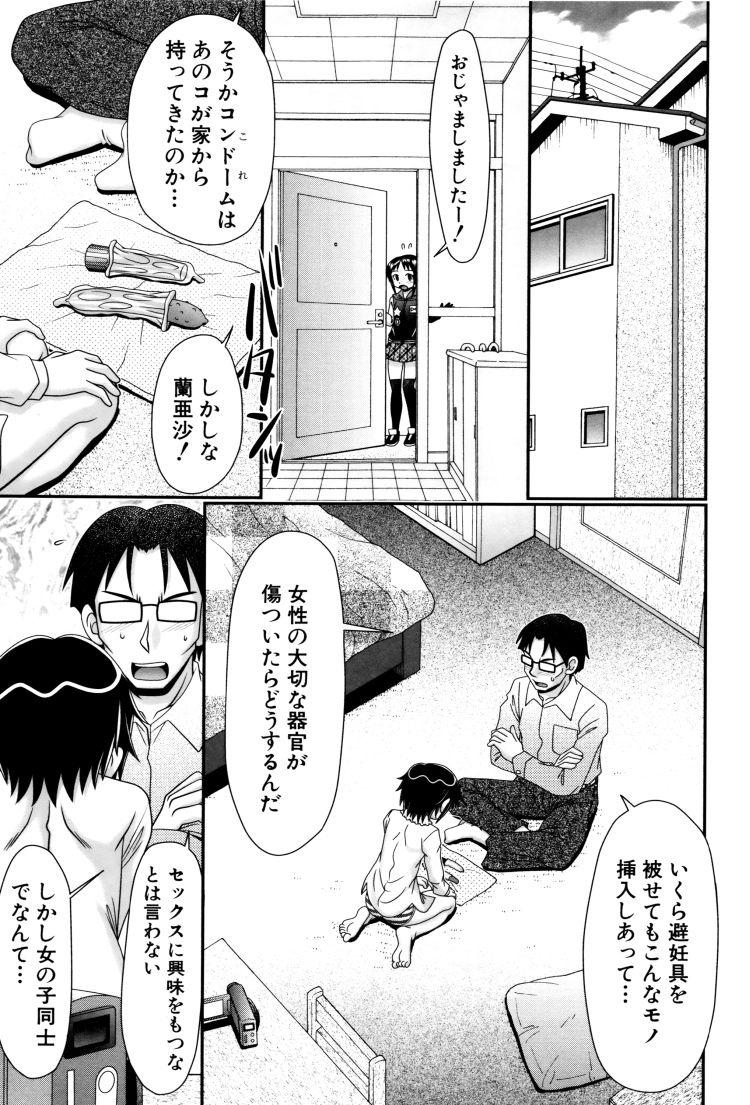 【エロ漫画】女子小学生の娘がレズセックスしているところを見てしまった父親!それでも疼きが治まらない娘に近親相姦セックスしてしまう!00003