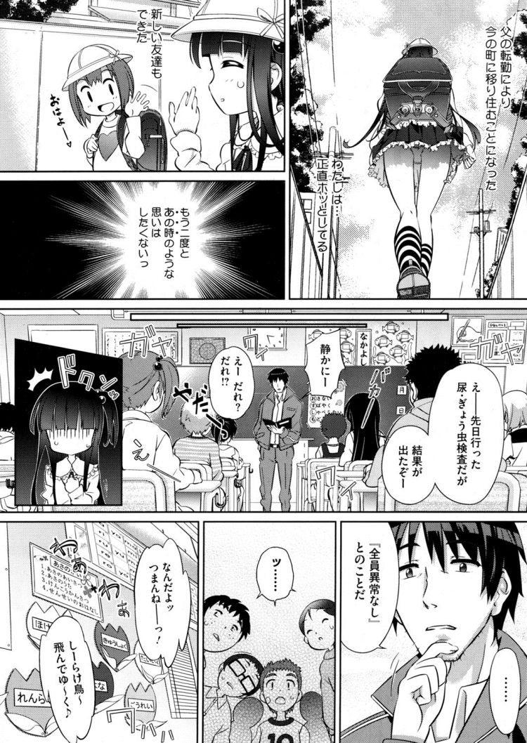 【エロ漫画】黒髪ロングの女子小学生がぎょう虫検査で引っかかりそのことで教師に脅されまんこもアナルも犯されてしまう!00004