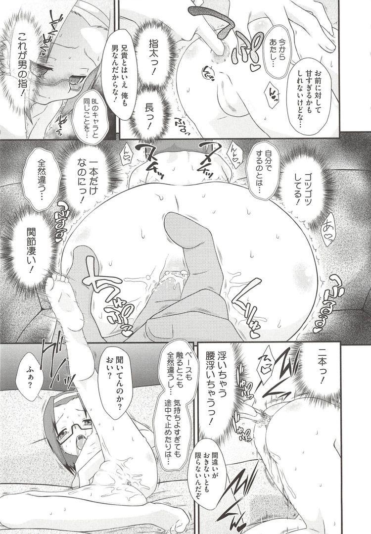 【エロ漫画】眼鏡女子小学生妹がBL小説を読んでアナルセックスに興味をもってしまい、兄にお願いしてアナルセックスでおちんぽ中毒に!00005