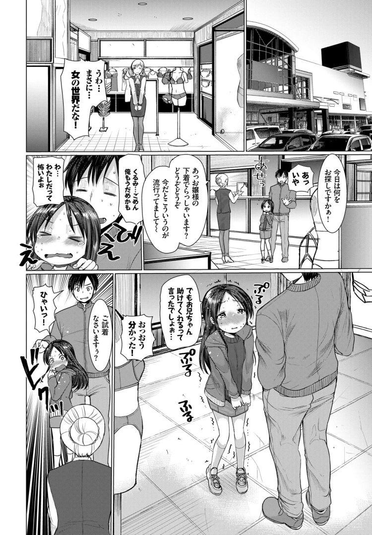 【エロ漫画】女子小学生妹の胸が大きくなってきたから兄が一緒にブラジャーを買いに行ってそのブラを着せたまま近親相姦セックスをする!00002