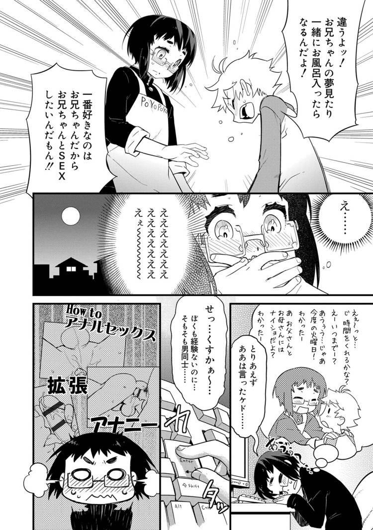 【エロ漫画】お世話をしているショタがセックスしたいとお兄ちゃんに告げるとお兄ちゃんは気持ちに応えるためにアナルにゼリー入れてローション代わりにしてBLセックスする!00004
