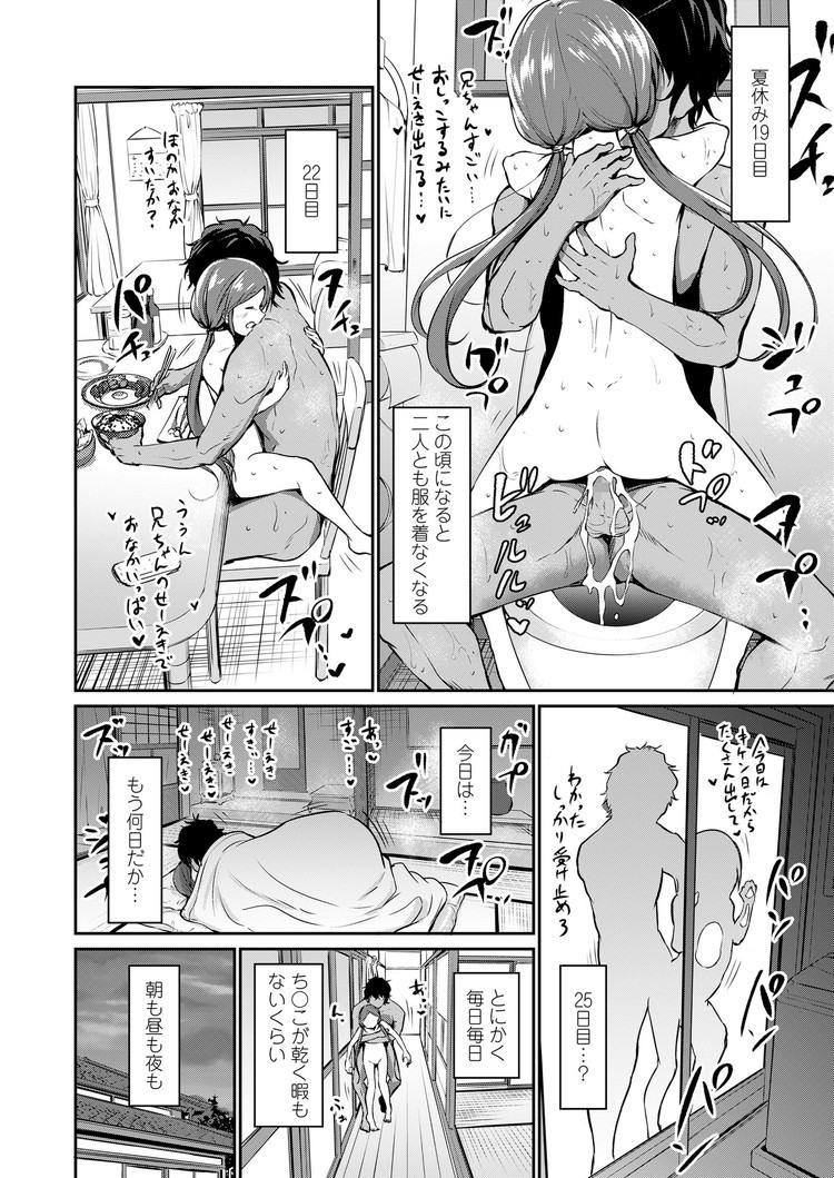【エロ漫画】夏休みは恋人でもある親戚の女子小学生と一緒に過ごして朝から晩まで毎日毎日全裸で過ごしてセックスしまくって訳わからないほど気持ちよくなる!00016